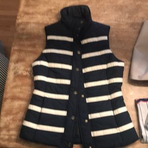 Nautical navy striped vest with anchor buttons